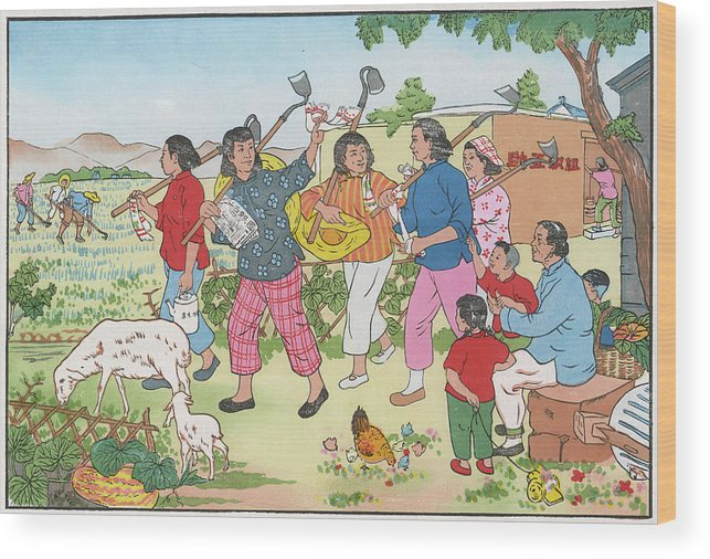Chinese Wood Print featuring the drawing China Women On A Communal Farm Form by Mary Evans Picture Library