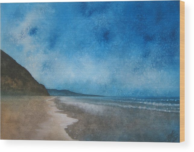 Landscape Art Wood Print featuring the painting Coastal Walk At Torrey Pines by Robin Street-Morris