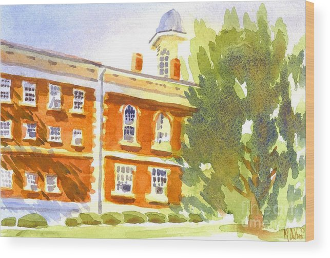 Courthouse In August Sun Wood Print featuring the painting Courthouse In August Sun by Kip DeVore