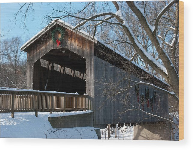 Covered Bridge Wood Print featuring the photograph Covered Bridge At Christmas by Shelley Thomason