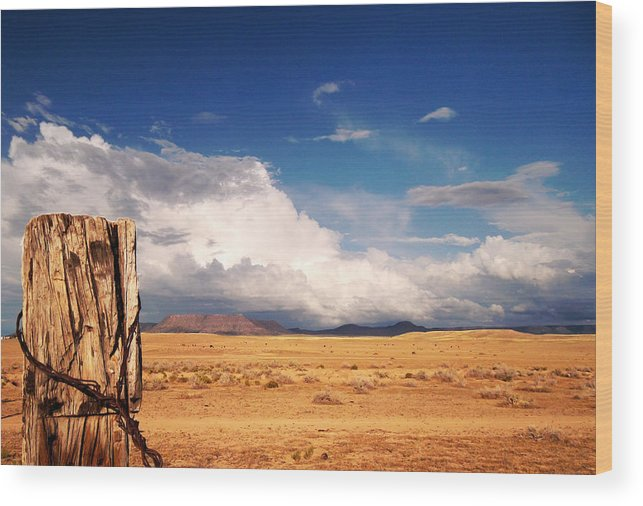 Post Wood Print featuring the photograph Desert Post by Valerie Loop