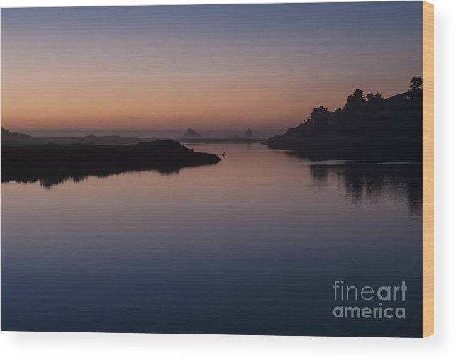 Sonoma County Wood Print featuring the photograph Dusk On Russian River 2.2753 by Stephen Parker