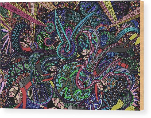 Ocean Wood Print featuring the painting Exporation Of The Deep Blue by Karen Elzinga