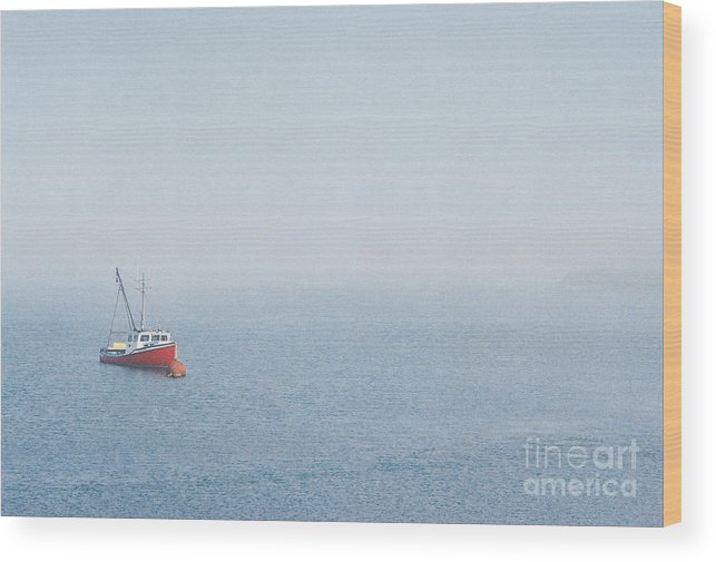 Boat Wood Print featuring the photograph Fishing Boat In Fog by Mary and Curt Johnston