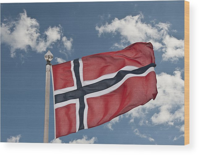 Flag Of Norway Wood Print featuring the photograph Flag Of Norway by Steve Purnell
