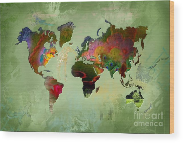 Map Wood Print featuring the painting Green Planet by Ruta Naujokiene