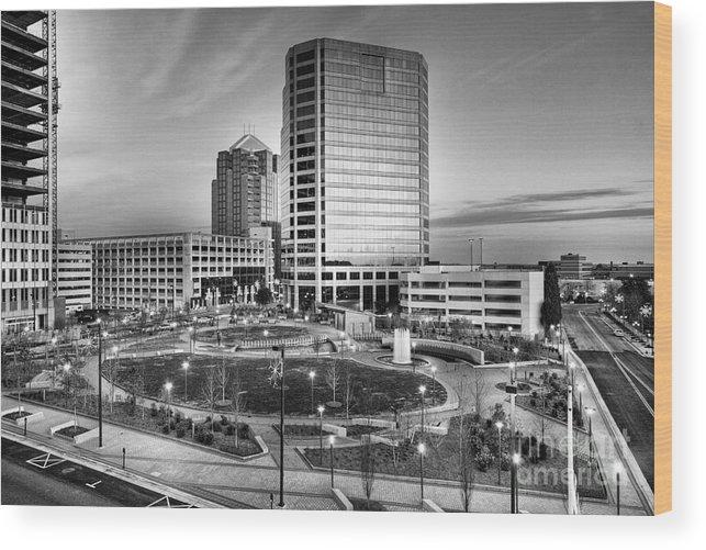 North Carolina Wood Print featuring the photograph Greensboro Center City Park Bw by Dan Carmichael