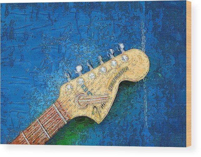Music Wood Print featuring the digital art Guitar Head by Philip Dammen