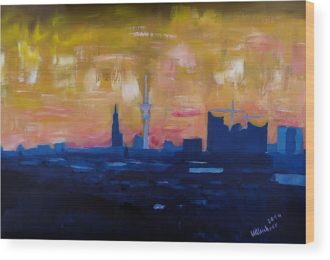 Elbphilharmonie Wood Print featuring the painting Hamburg Skyline At Dusk With Elbe Philharmonic Hall by M Bleichner