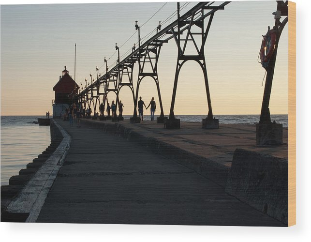 Sunset Wood Print featuring the photograph Hand In Hand by Shelley Thomason