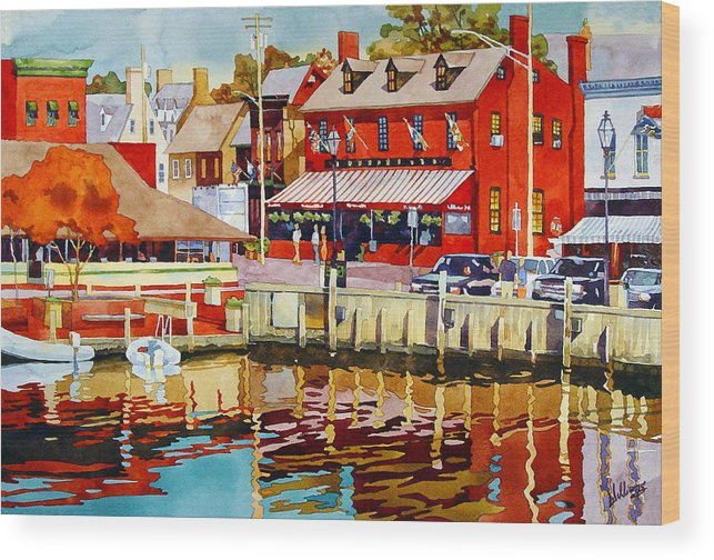 Watercolor Wood Print featuring the painting Harborfront Tavern by Mick Williams
