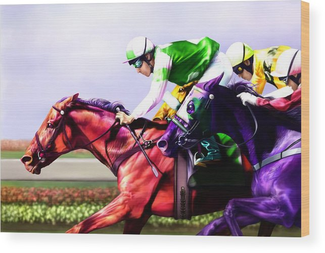 Race Horses Wood Print featuring the digital art Horse Of A Different Color by Karen Kutoloski
