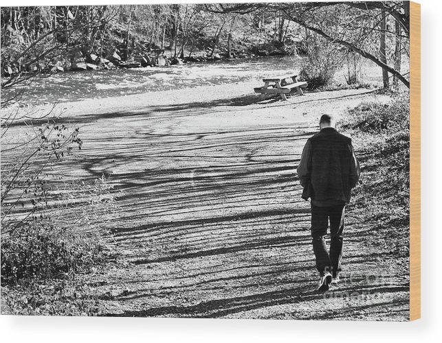 Person Wood Print featuring the photograph I Walk Alone by Lori Tambakis