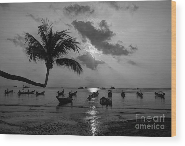 B&w Wood Print featuring the photograph Island Sunset by Alex Dudley