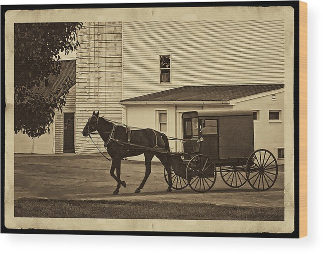 Horse And Buggy Wood Print featuring the photograph Leaving The Farm by Priscilla Burgers