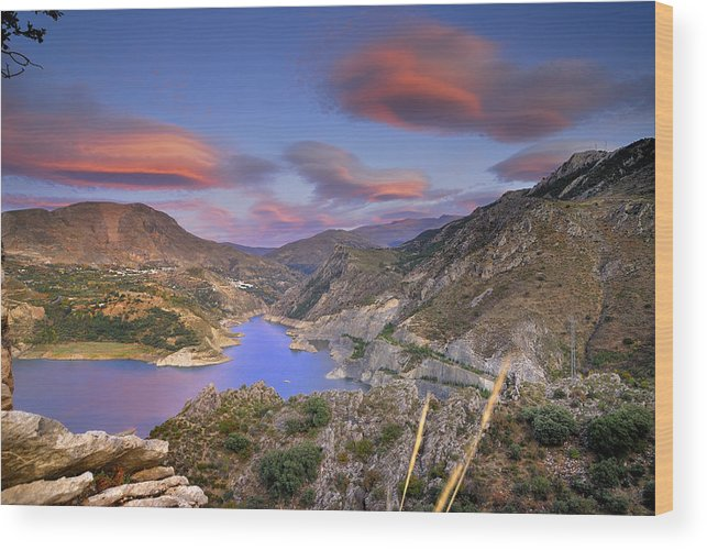 Sunset Wood Print featuring the photograph Lenticular Clouds At The Red Sunset by Guido Montanes Castillo