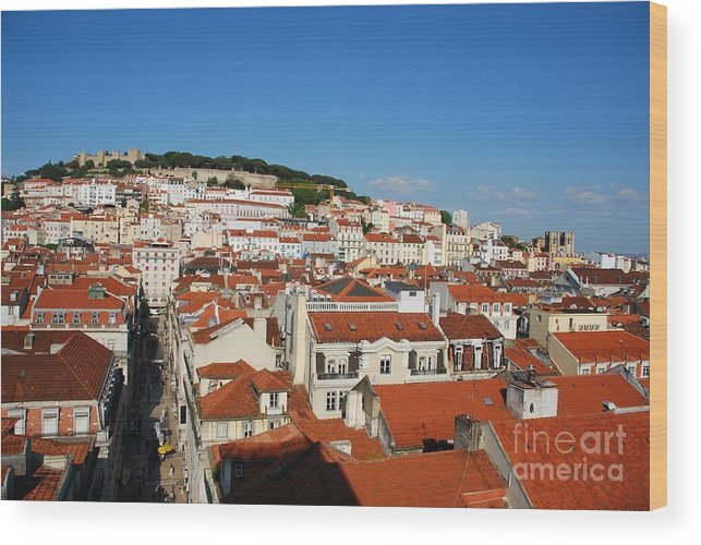 Cityscape Wood Print featuring the photograph Lisbon Cityscape With Sao Jorge Castle And Cathedral by Luis Alvarenga