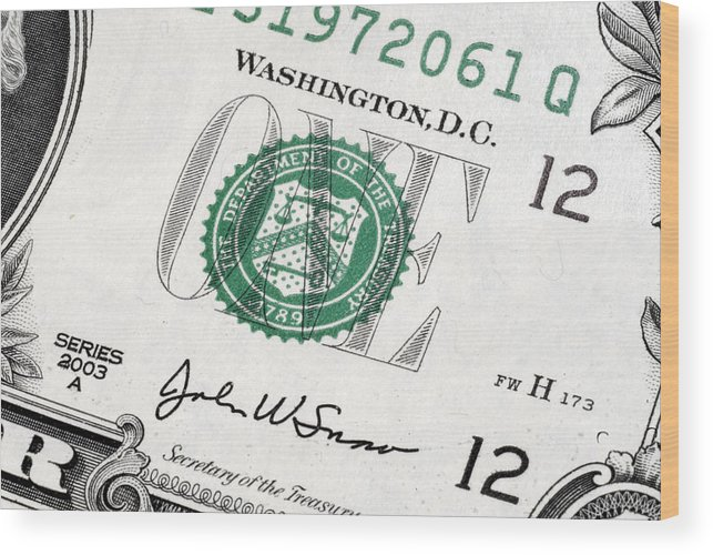 Cash Wood Print featuring the photograph Money by William Ragan