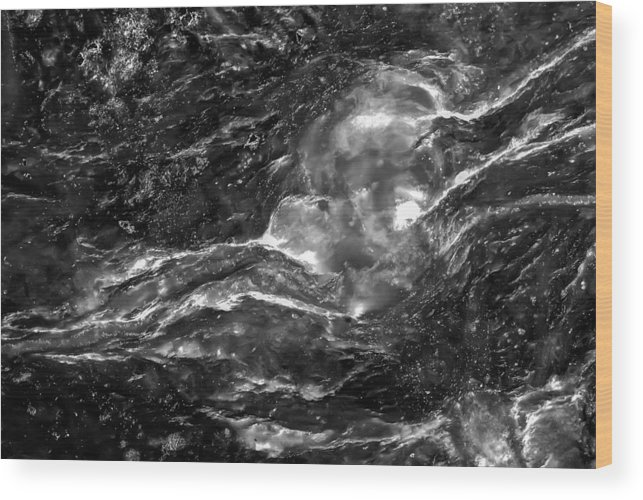 Abstract Wood Print featuring the photograph Monochrome Sea by Onyonet Photo Studios