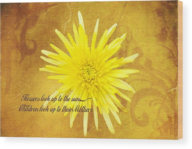 Yellow Flower Wood Print featuring the photograph Mother's Day Flower by Mary Timman