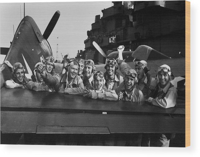 History Wood Print featuring the photograph Navy Pilots Celebrate On The Uss by Everett