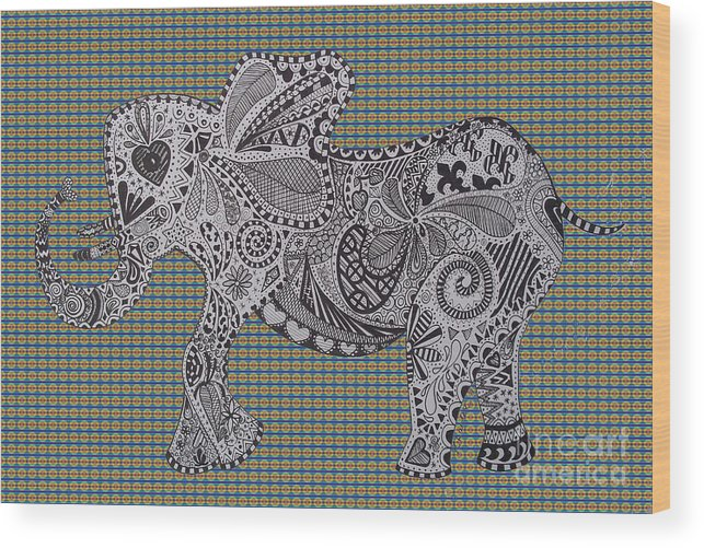 Nelly Wood Print featuring the drawing Nelly The Elephant Tartan by Karen Larter