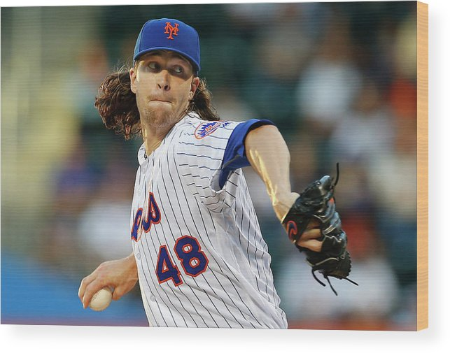 Jacob Degrom Wood Print featuring the photograph New York Yankees V New York Mets by Rich Schultz