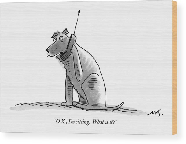 (dog Talking On Cell Phone.) Wood Print featuring the drawing O.k., I'm Sitting. What Is It? by Mick Stevens
