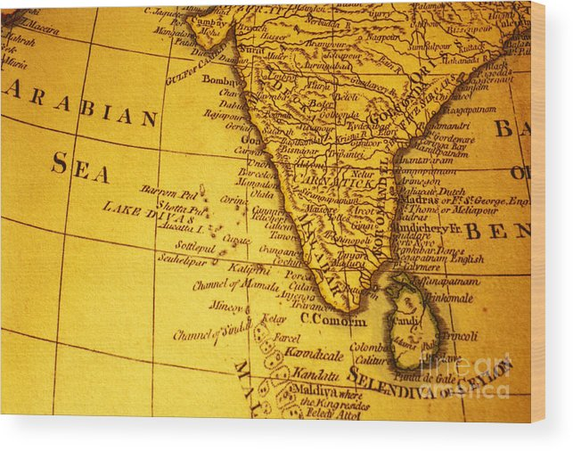 Old Map Of India And Arabian Sea Wood Print By Colin And Linda Mckie
