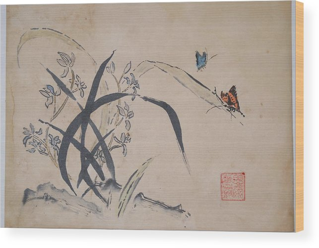Chinese Orchids Wood Print featuring the painting Orchids And Butterflys by Steve Lucas