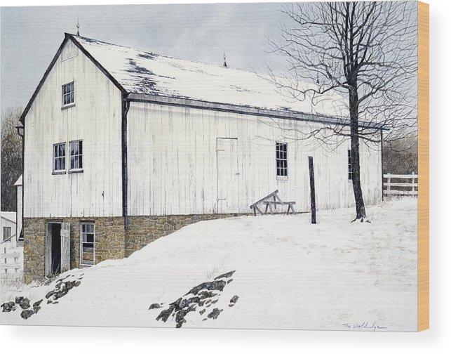 Landscape Wood Print featuring the painting Pennsylvania Dutch by Tom Wooldridge
