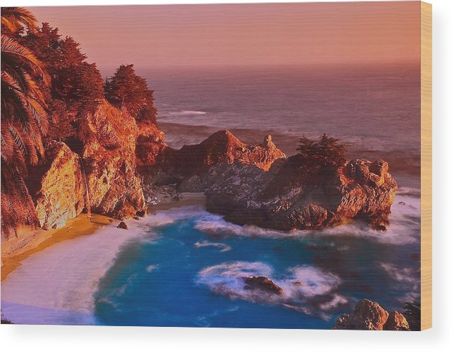 California Wood Print featuring the photograph Pfeiffer Falls - Big Sur Ca by Jean-Pierre Mouzon