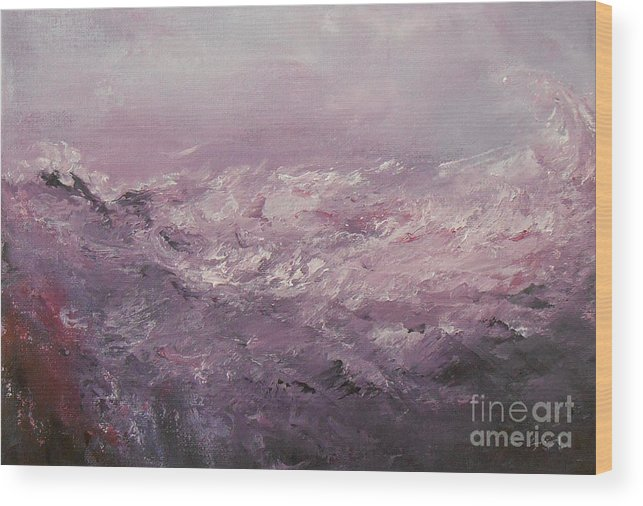 Abstract Wood Print featuring the painting Pink Emotions by Jane See