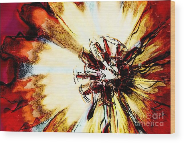 Flower Wood Print featuring the digital art Rays Of Joy - S03-10 by Variance Collections