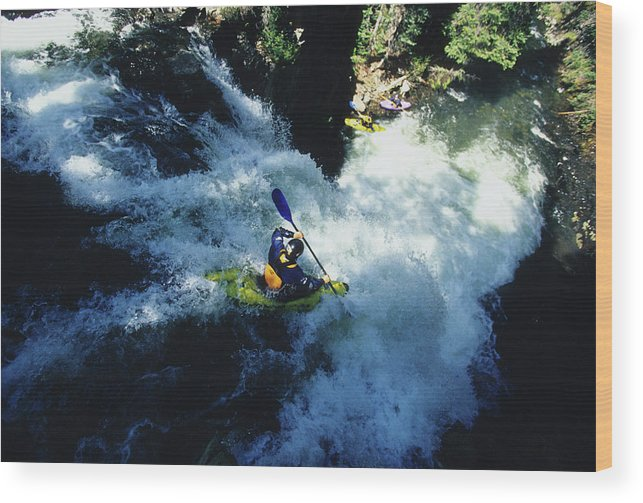 Churn Wood Print featuring the photograph River Kayaking Over Waterfall, Crested by Adam Clark