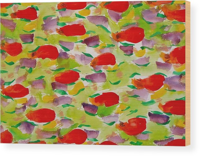 Rose Petals Wood Print featuring the painting Rose Petals by Troy Thomas