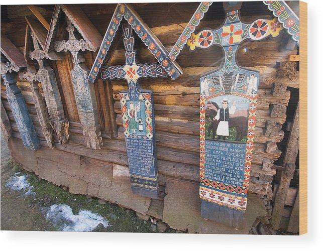 Tradition Wood Print featuring the photograph Sapanta Happy Cemetery by Bogdan Dan