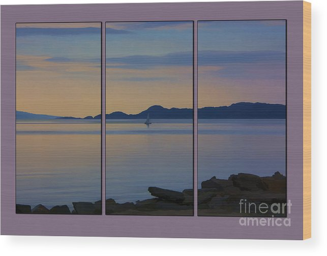 Scottish Loch Wood Print featuring the photograph Serenity Tryptych by Chris Thaxter