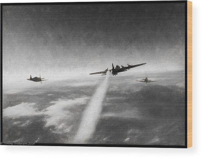 Boeing B-17g Flying Fortress Wood Print featuring the digital art Wounded Warrior - Charcoal by Tommy Anderson