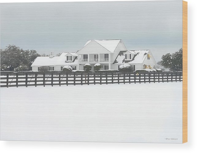 Southfork Ranch Wood Print featuring the photograph Snow Covered Southfork Ranch  by Dyle  Warren