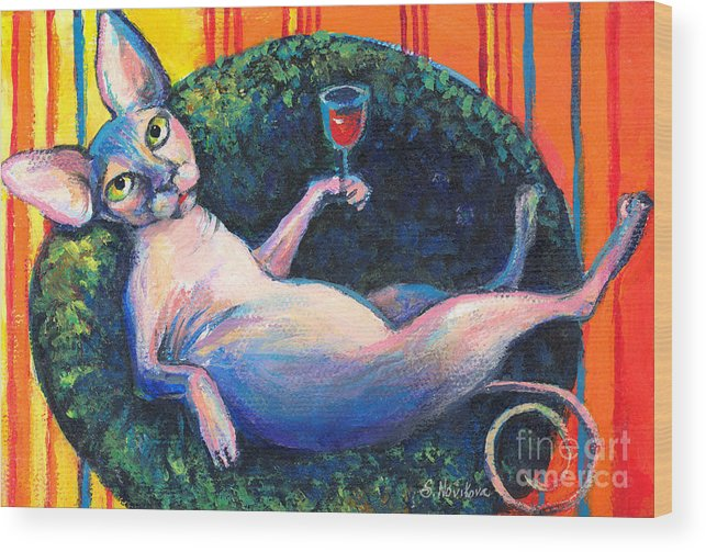 Sphynx Cat Wood Print featuring the painting Sphynx Cat Relaxing by Svetlana Novikova