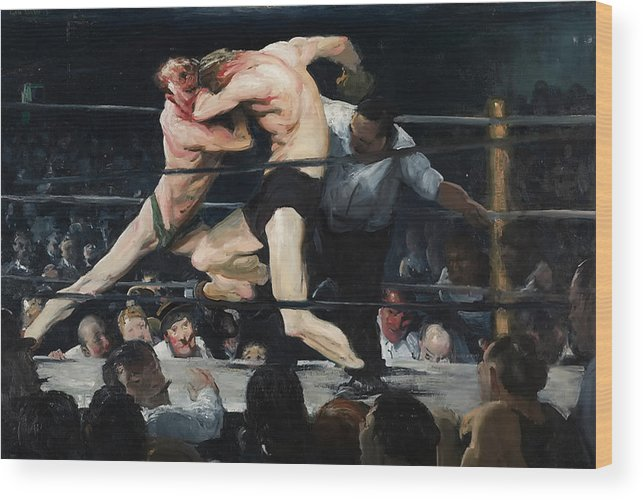 Boxing Wood Print featuring the painting Stag At Sharkey's Bar 1909 by Mountain Dreams