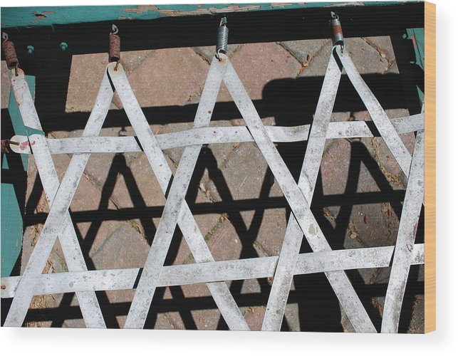 Jewish. Stars.shadow..old.beach Chair.rusty Wood Print featuring the photograph Stars Of David by Andrea Rimberg