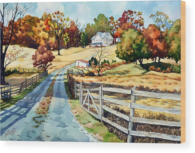 Landscape Wood Print featuring the painting The Road To The Horse Farm by Mick Williams