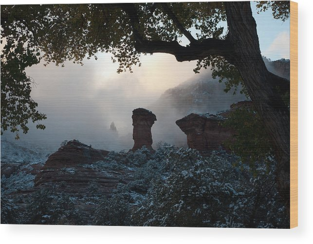 American Wood Print featuring the digital art Through The Mist by Curtis Jones