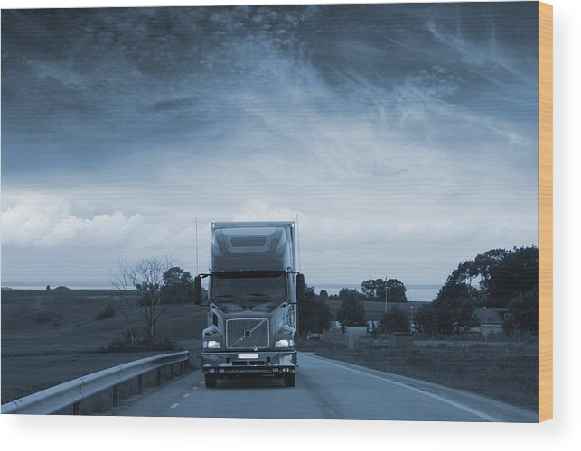Truck Wood Print featuring the photograph Trucking Late At Night by Christian Lagereek