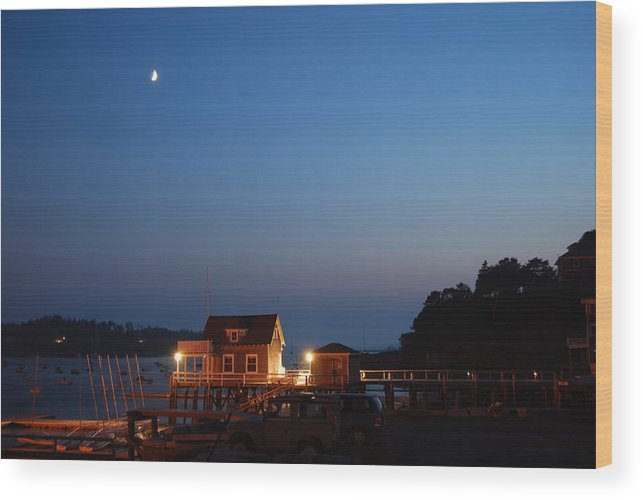 North Haven Casino Wood Print featuring the photograph Twilight And Moon Rise Over The North Haven Casino. Celebrating 100 Years In 2012 The North Haven Casino Is One Of Maine's First Sailing Yacht Clubs. by Downeast Yacht Shots- Ted Fisher Photography