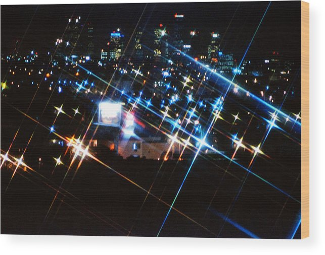 Night Wood Print featuring the photograph View Of Los Angeles At Night by Emanuel Tanjala