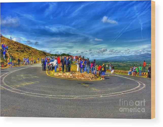 Hdr Wood Print featuring the photograph Waiting For The Cycle Race by Joe Cashin