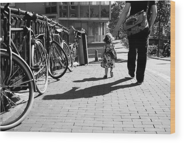 Street Photography Wood Print featuring the photograph Walk Safely Little Girl by Steppeland -